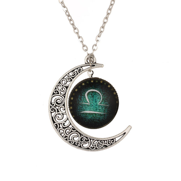 Crescent Moon Necklace with Libra Symbol