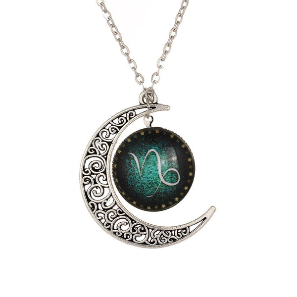 Capricorn Sign Necklace with Crescent Moon