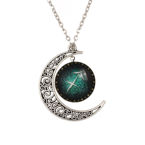 Sagittarius the Archer Zodiac Crescent Moon Necklace