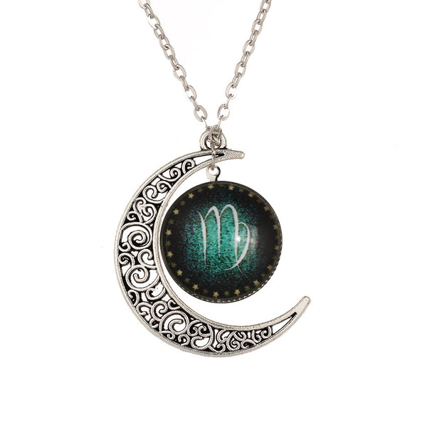 Virgo the Virgin Crescent Necklace with Moon