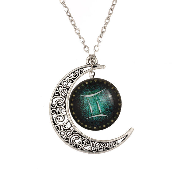 Necklace with Crescent Moon and Gemini Star Sign