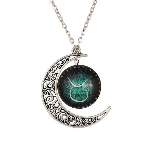 Crescent Moon Zodiac Necklace with Taurus the Bull Sign
