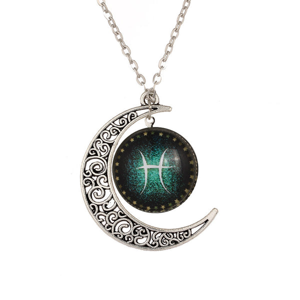 Pisces the Fish Neck Pendant with Crescent Moon