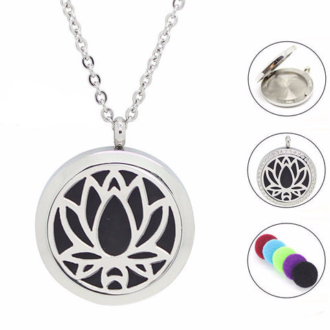 silver aromatherapy pendant necklace
