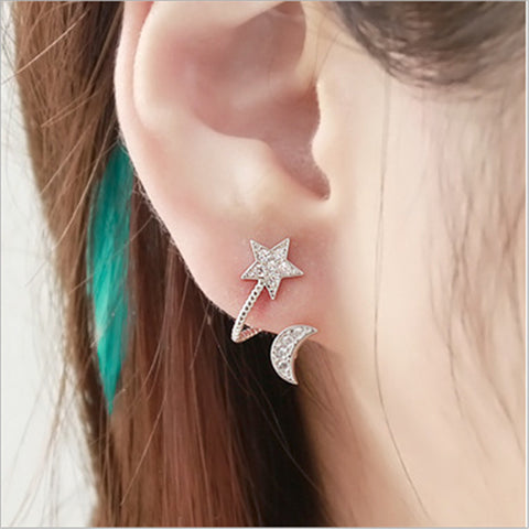 Moon and Star Astrological Jewelry Earrings