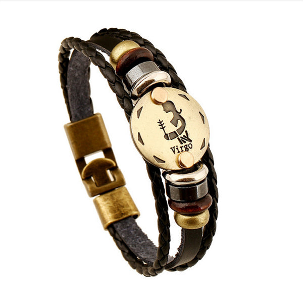 Bronze Leather Bracelet with Virgo Star Sign