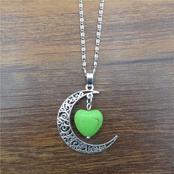 Crescent Moon Necklace w/ Heart Charm