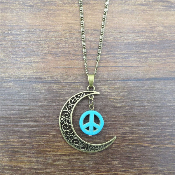 Peace Sign Crescent Moon Necklace