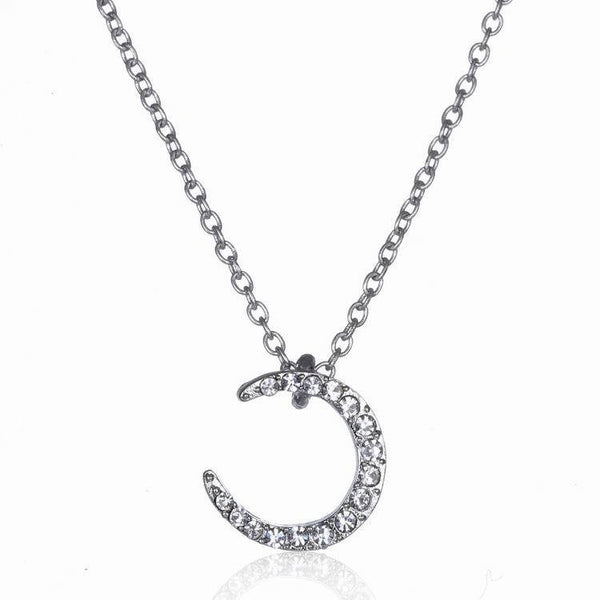 Crystal Crescent Moon Necklace