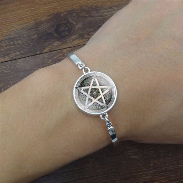 silver pentagram wrist bangle