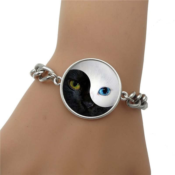 Silver yin yang Cat Bracelet on Wrist