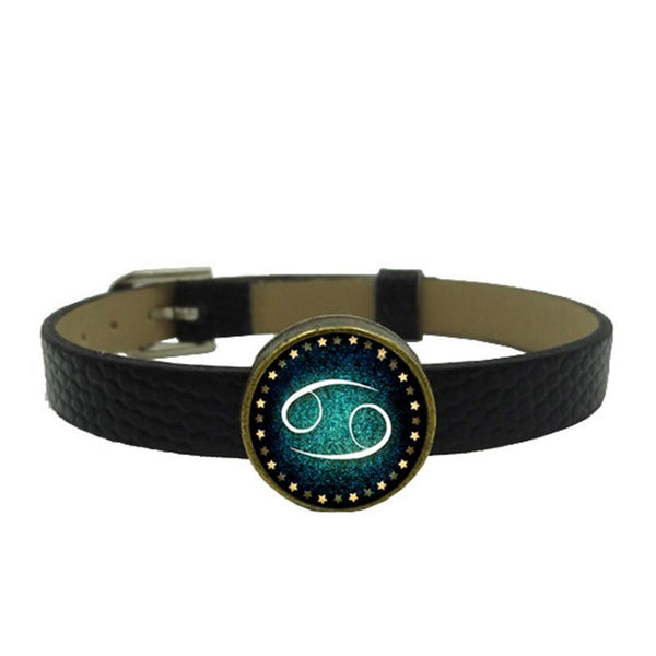 Zodiac Charm Leather Wristband (Cancer)
