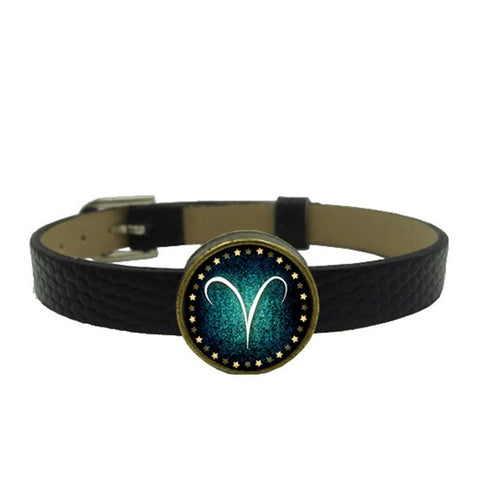 Zodiac Charm Leather Wristband (Multiple Colors)