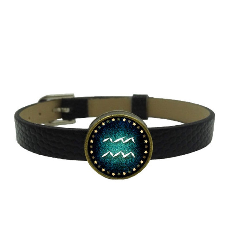 Zodiac Charm Leather Wristband (Aquarius)