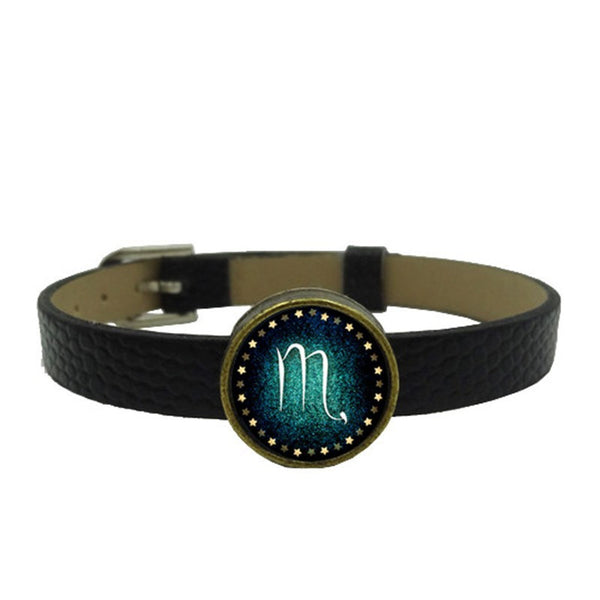 Zodiac Charm Leather Wristband (Scorpio)