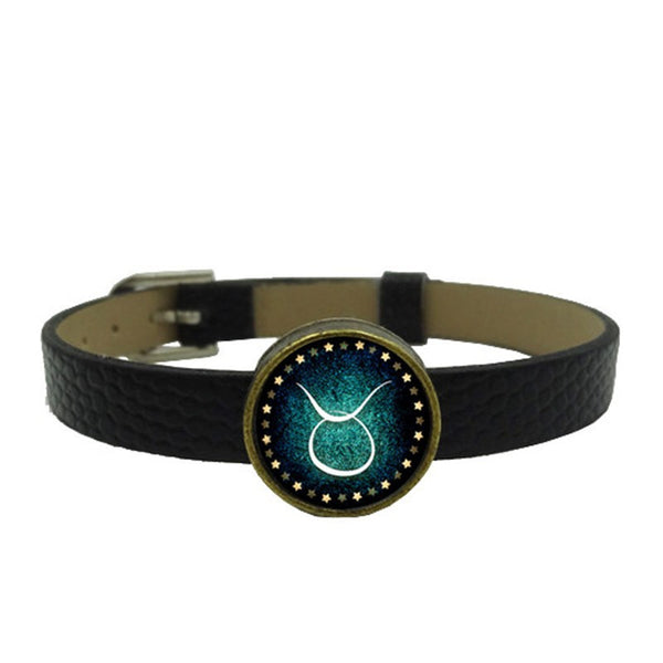 Zodiac Charm Leather Wristband (Taurus)