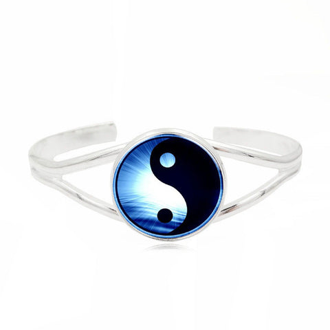 Yin Yang Cuff Bangle (Silver)