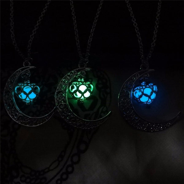 multi color glow in the dark crescent pendant