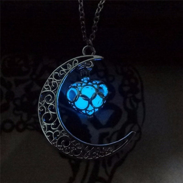 blue glowing crescent necklace