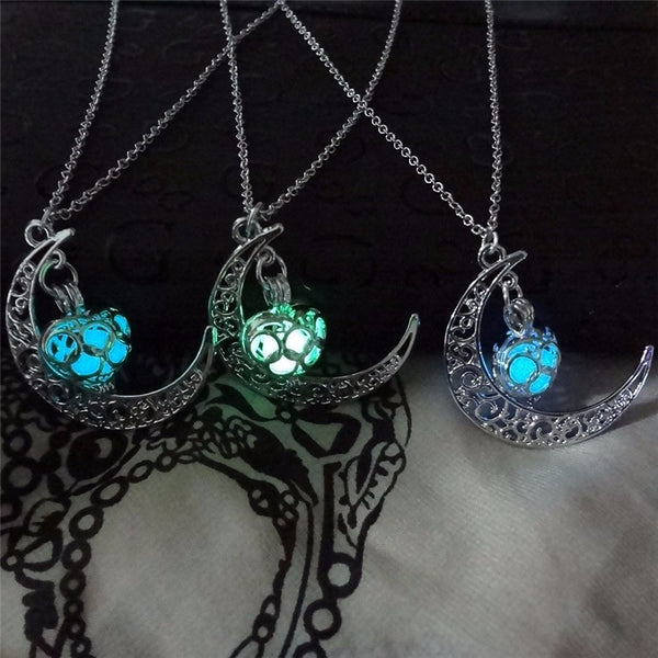 three color glowing crescent necklaces