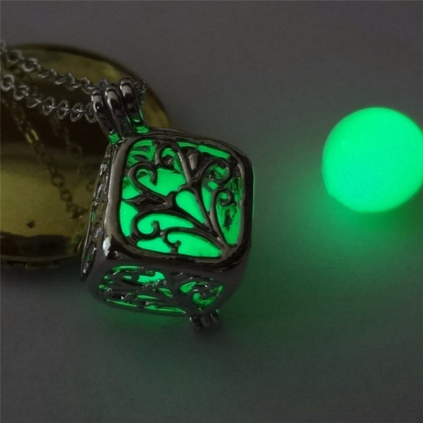 green glowing cube necklace