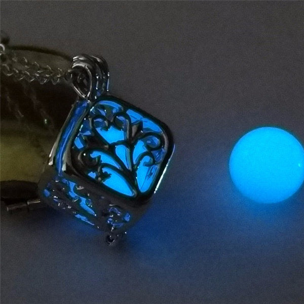 blue glow in the dark cube necklace