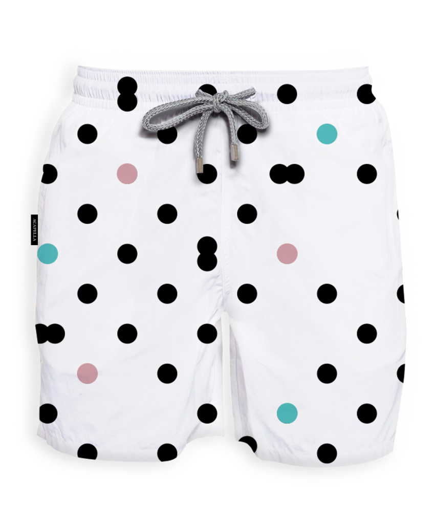 Acapella Ropa Men Swimwear White Dots Swimsuit