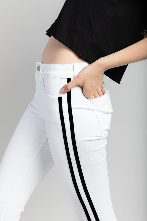 Not specified Denim Cropped Striped Skinny White