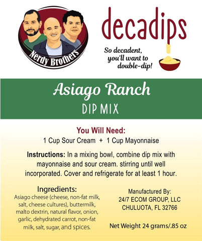 Nerdy Brothers Decadips Asiago Ranch Dip Mix