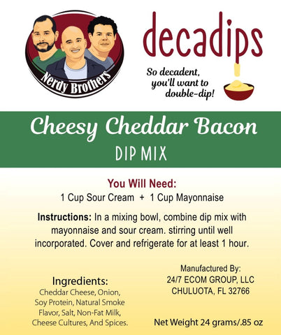 Nerdy Brothers Decadips Cheesy Cheddar Bacon Dip Mix