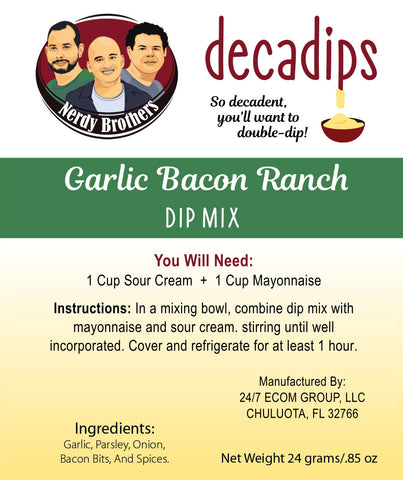 Nerdy Brothers Decadips Garlic Bacon Ranch Dip Mix