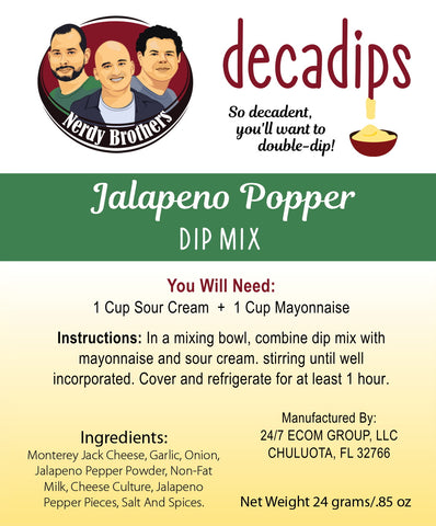 Nerdy Brothers Decadips Jalapeno Popper Dip Mix