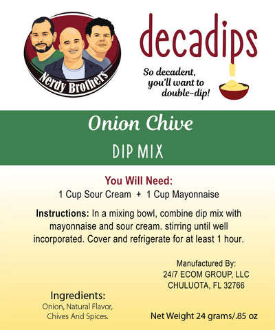 Nerdy Brothers Decadips Onion Chive Dip Mix