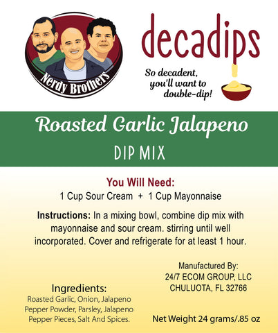 Nerdy Brothers Decadips Roasted Garlic Jalapeno Dip Mix