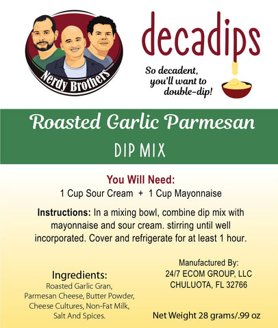 Nerdy Brothers Decadips Roasted Garlic Parmesan Dip Mix