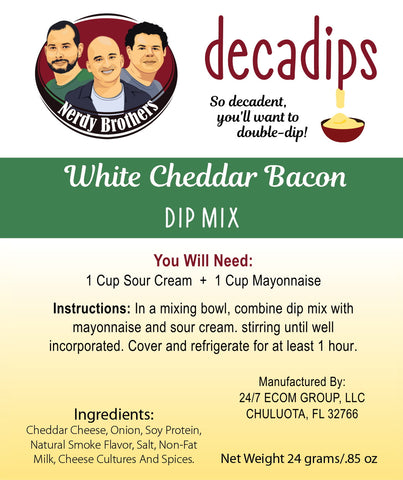 Nerdy Brothers Decadips White Cheddar Bacon Dip Mix