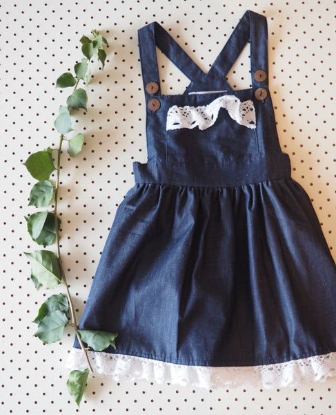 Vintage Rogue Pinafore with Crochet Detailing (Girls Version)