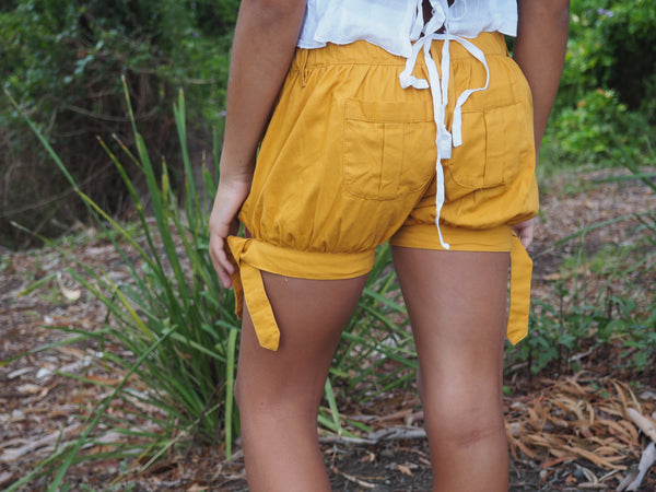 ISLA MUSTARD TIE UP SHORTS
