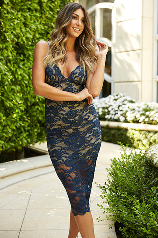 'Windsor' Blue Lace Stretchy Midi Dress