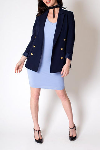 'Honor' Structured Navy Blue Blazer With Gold Buttons