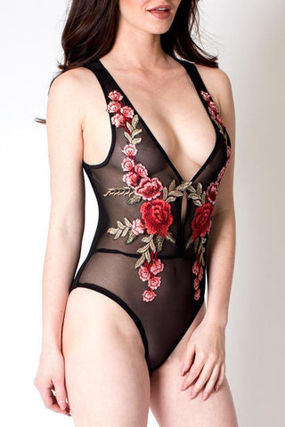 'Aurora' Black Sheer Rose Applique Bodysuit