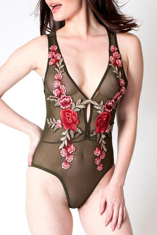 'Aurora' Olive Green Sheer Rose Applique Bodysuit