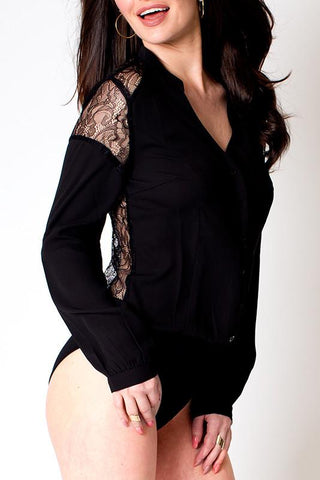 'Romance' Black Full Lace Back Button Up Bodysuit