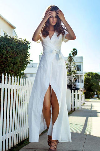 'Blair' White Cuffed Sleeve Maxi Wrap Dress