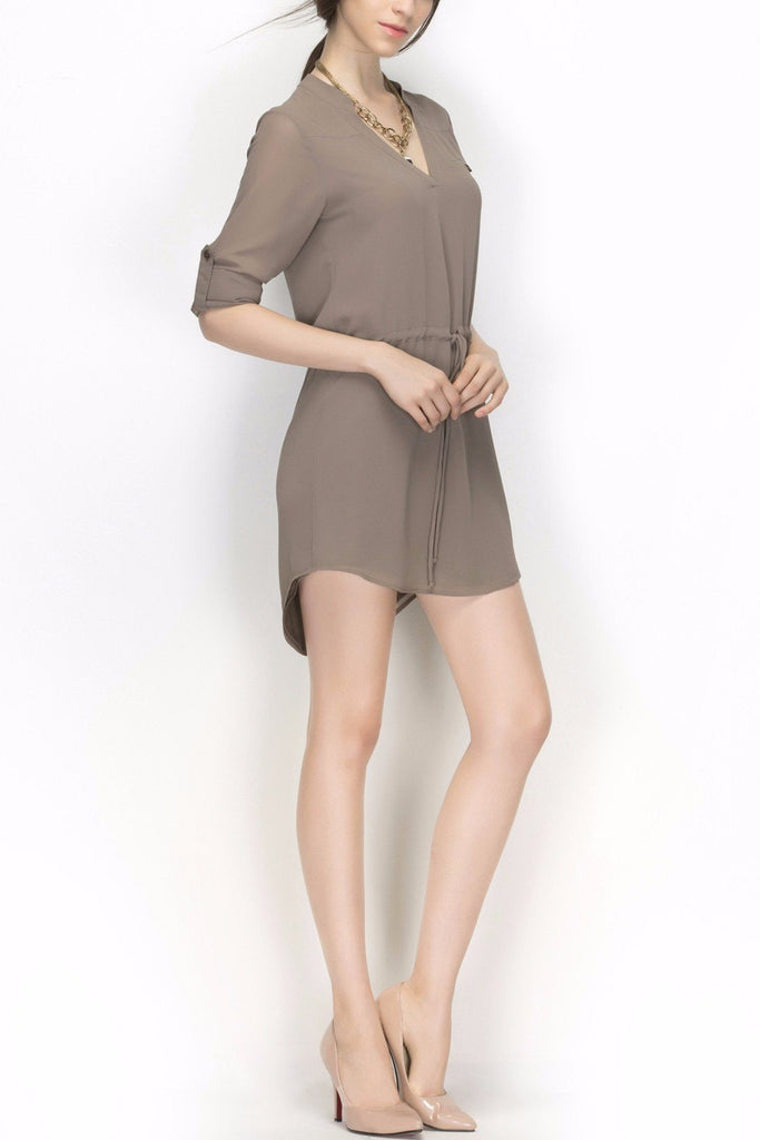 'Calico' Grey Tunic Tie Waist Half Sleeve Dress