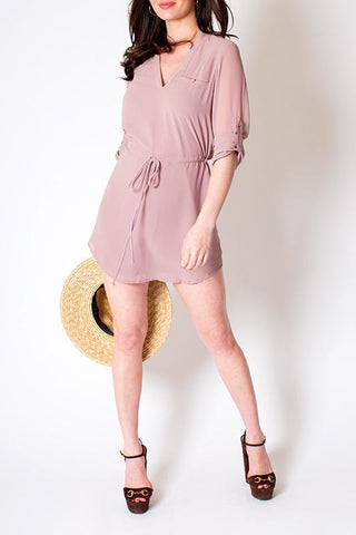'Calico' Mauve Tunic Tie Waist Half Sleeve Dress