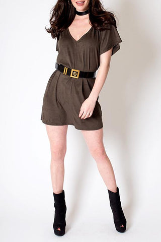 'Caviar' V Neck Mock Suede Tunic Dress