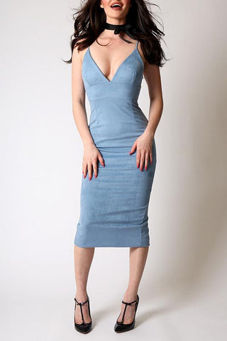 'Charles' Mock Suede Blue Form Fitting Midi Dress