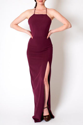 'Chelsea' Square Neck Aubergine Dress