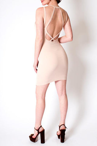 'Chorus' Nude Strap Back Midi Dress